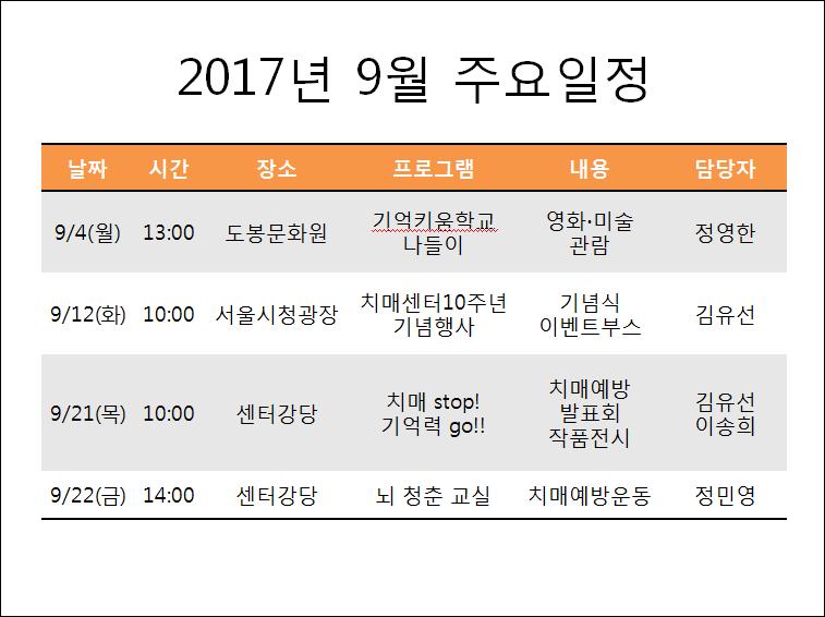 2017년 9월 도봉구치매지원센터 주요일정